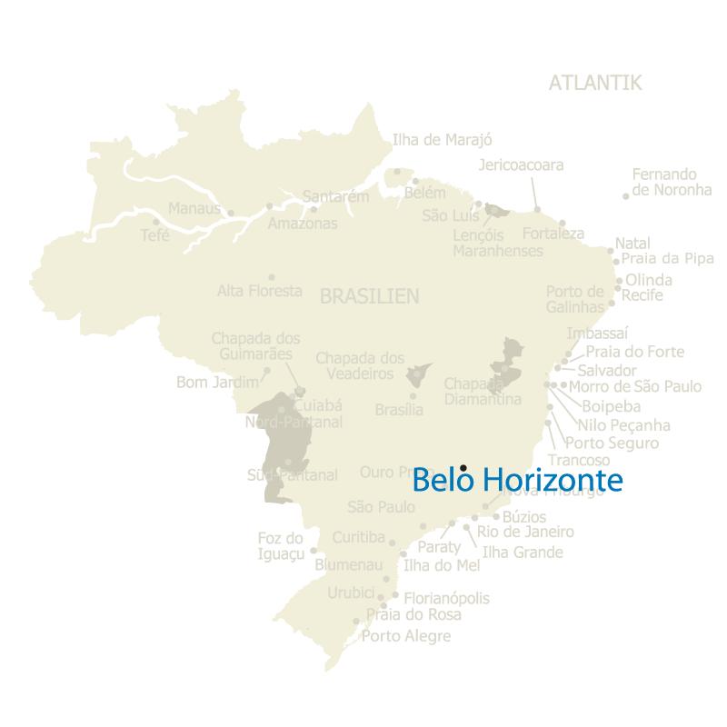 Belo Horizonte, die Hauptstaat des Staates Minas Gerais, auf der Karte Brasiliens