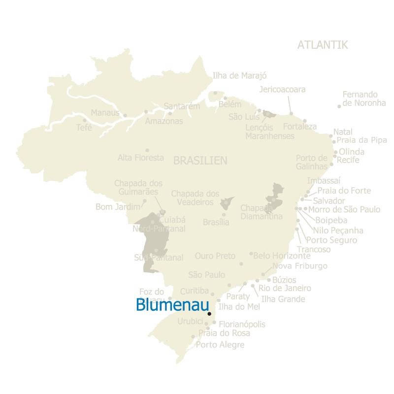 Blumenau Brasilien Karte