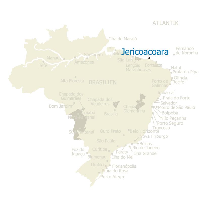 Brasilien Karte mit Jericoacoara