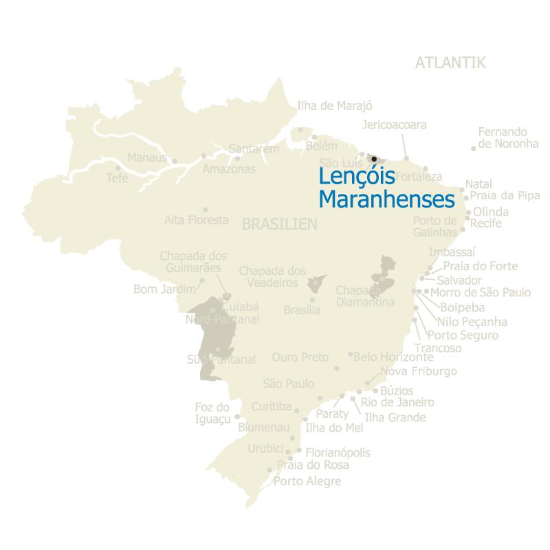 Brasilien Karte mit Lencois Maranhenses