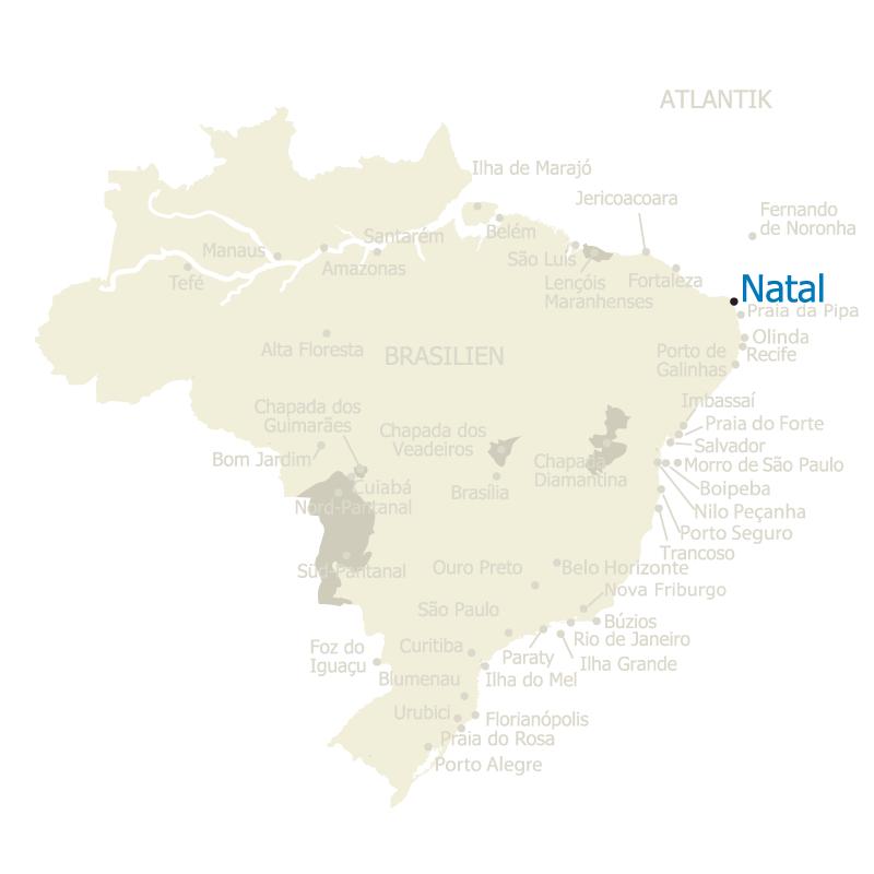 Brasilien Karte mit Natal