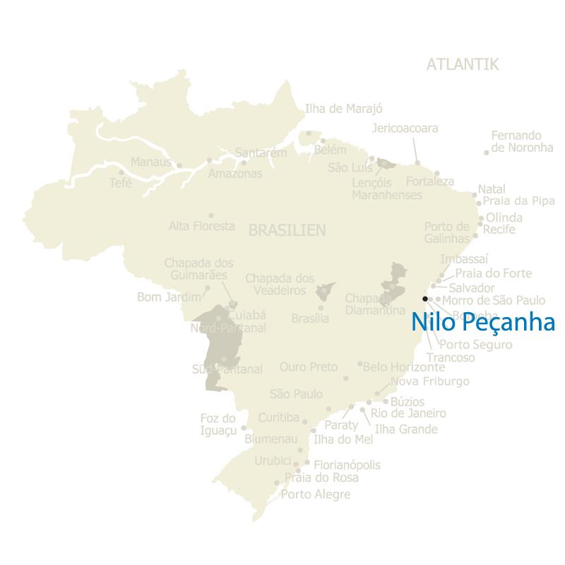 Brasilien Karte mit Nilo Pecanha
