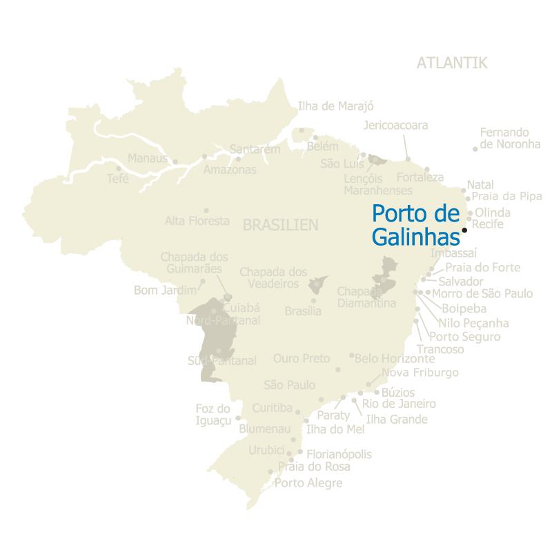 Porto de Galinhas Brasilien Karte