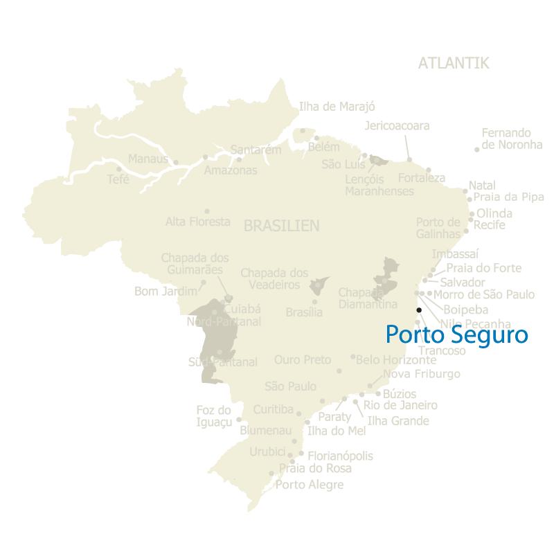 Porto Seguro, etwa 750 Kilometer südlich gelegen von Salvador, auf der Karte Brasiliens