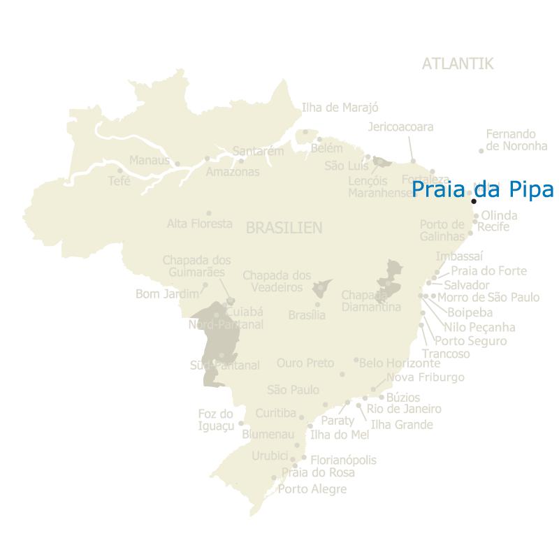 Praia da Pipa auf der Karte Brasiliens