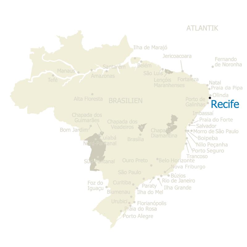 Die Stadt Recife auf der Karte Brasiliens