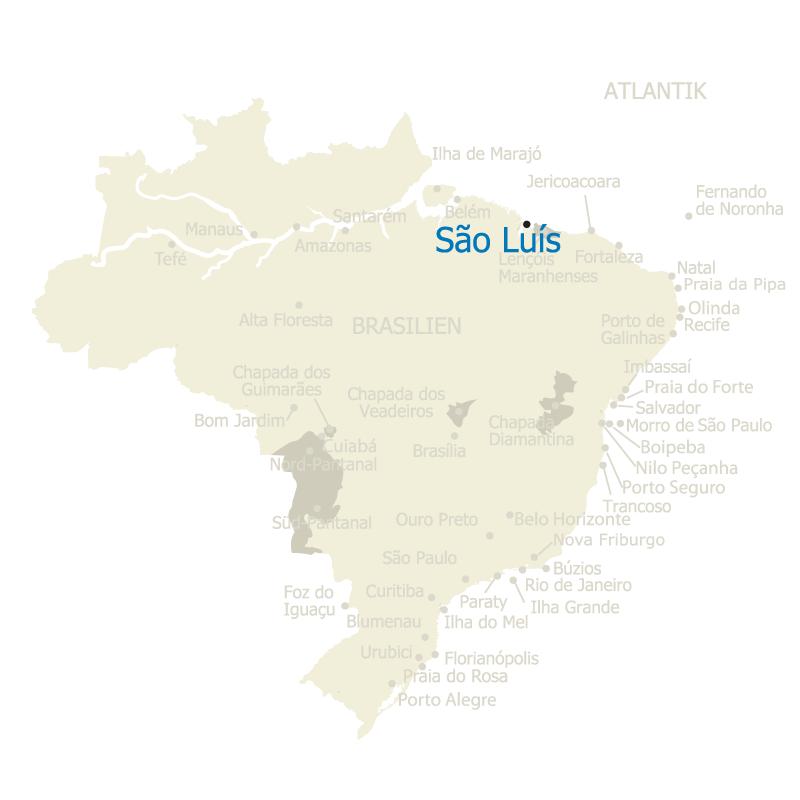São Luís, die Hauptstadt des nordbrasilianischen Bundesstaates Maranhão, auf der Karte Brasiliens