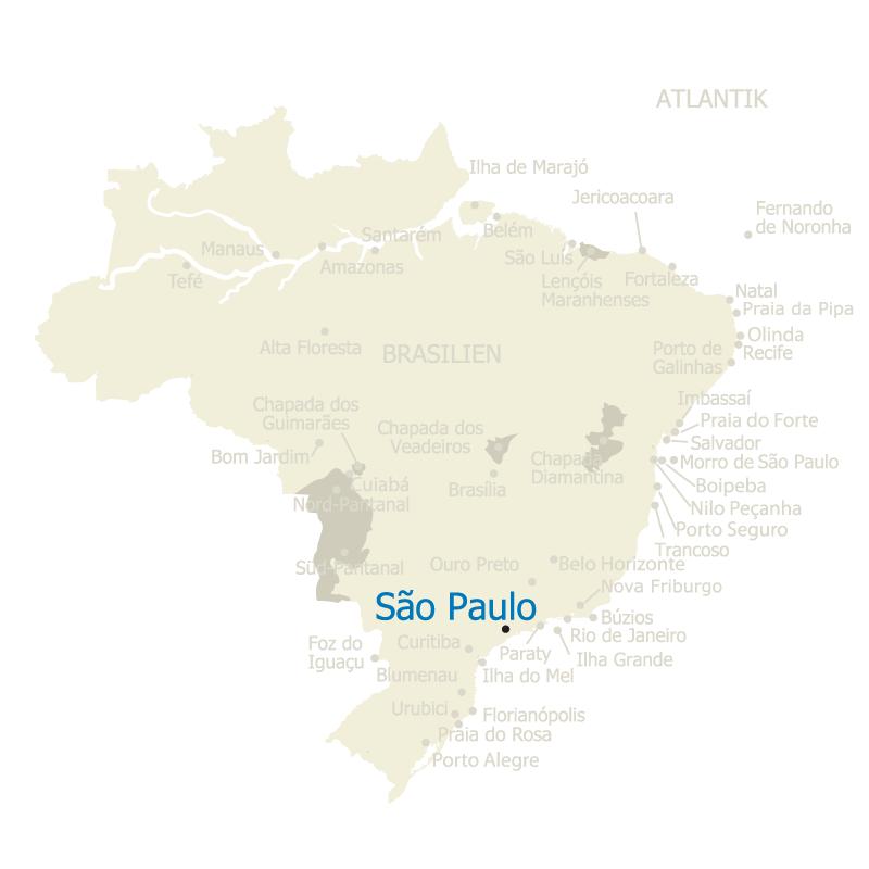 Die brasilianische Megacity São Paulo auf der Karte Brasiliens