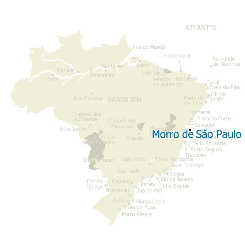Brasilien Karte mit Morro de Sao Paulo