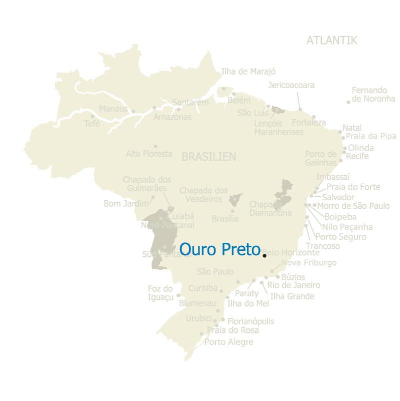 Ouro Preto Brasilien Karte