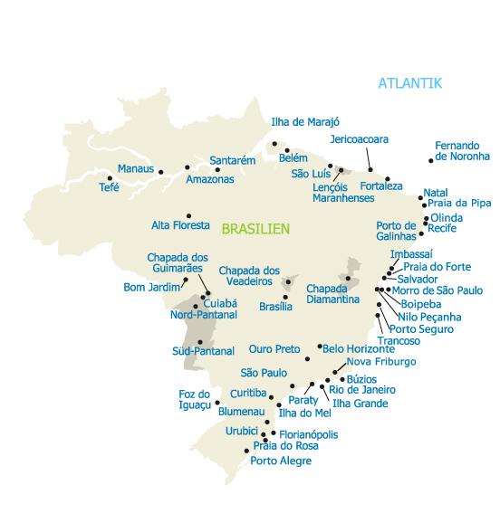 Alle Reise-Regionen in Brasilien - Karte