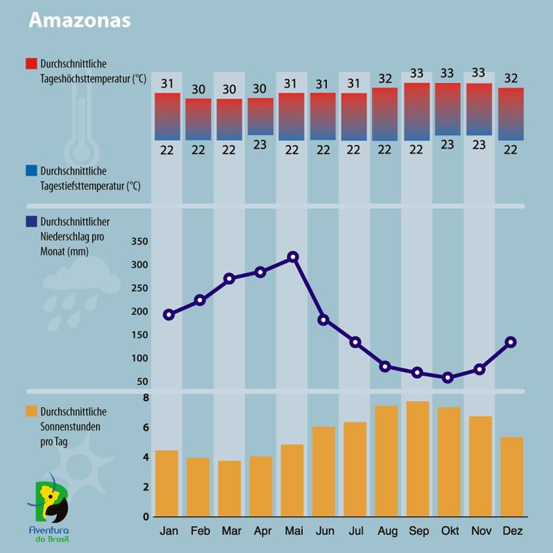 Diagramm zum Klima im Amazonas, Brasilien.