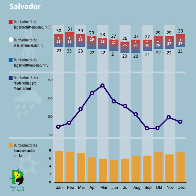 Diagramm zum Klima in Salvador, Brasilien.