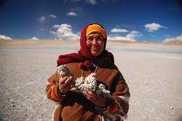 Rundreise in Argentinien bei Salta in der Puna Hochebene Frau mit Stein