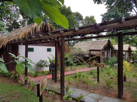Wege zwischen den Bungalows der Amazon Turtle Lodge