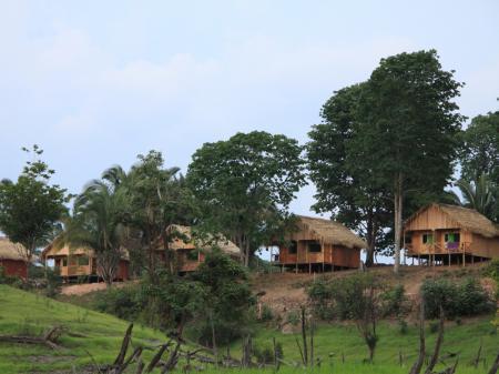Die Bungalows der Turtle Lodge im Amazonas