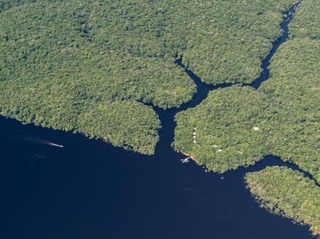 Luftbild der Anavilhanas Lodge