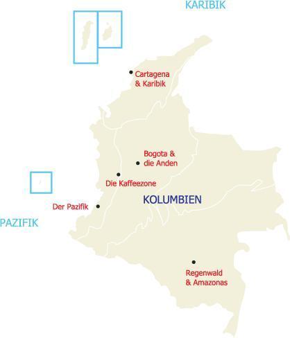 Sehen Sie hier eine Übersicht über alle Regionen Kolumbiens, die wir in unseren Reisen anbieten