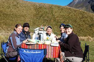 Reise Ecuador Trekking Chimborazo Camp Frühstück