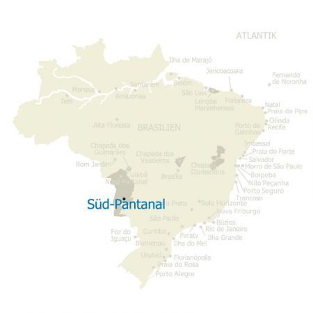 Landkarte von Brasilien mit hervorgehobenem Süd-Pantanal