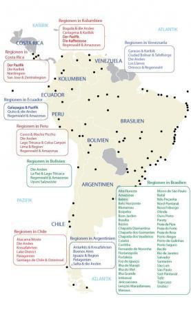 Reisen Sie durch die unterschiedlichen Regionen Südamerikas