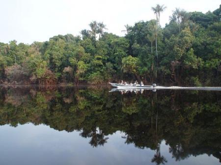 Ein Motorkanu mit Ausflugsgästen auf dem Rio Negro