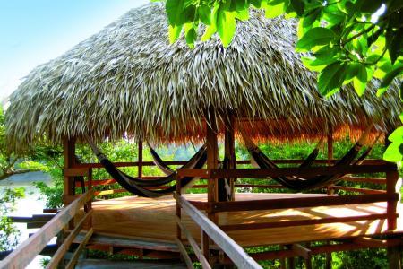 Juma Lodge Amazonas Hängematten in Hütte