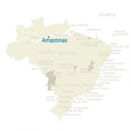 Landkarte von Brasilien, auf der das Amazonasgebiet besonders hervorgehoben ist