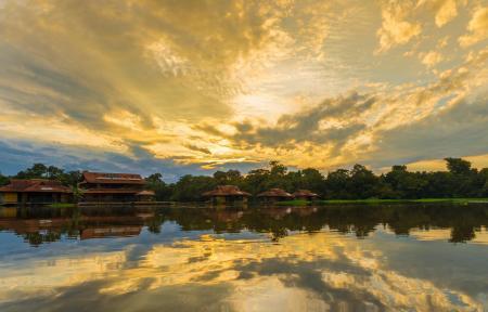 Uakari Lodge bei Sonnenuntergang