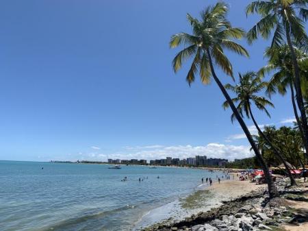 Aussicht auf langgezogenen Strandabschnitt von Maceio mit Kokospalmen und Strandbesuchern