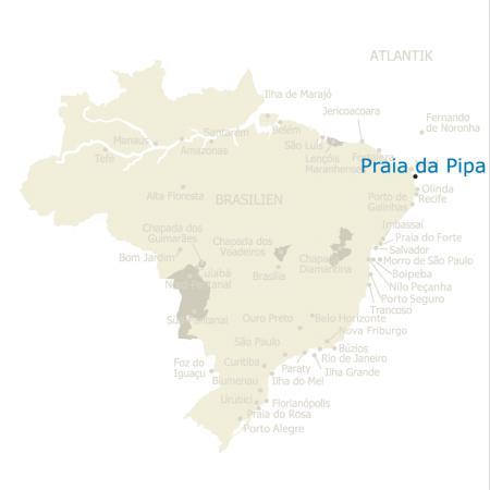 MAP Brasilien Karte Praia da Pipa