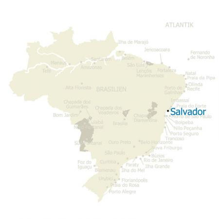 MAP Brasilien Karte Salvador da Bahia