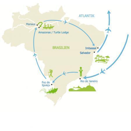 MAP Stopps der Rundreise Brasilien für Selbstentdecker