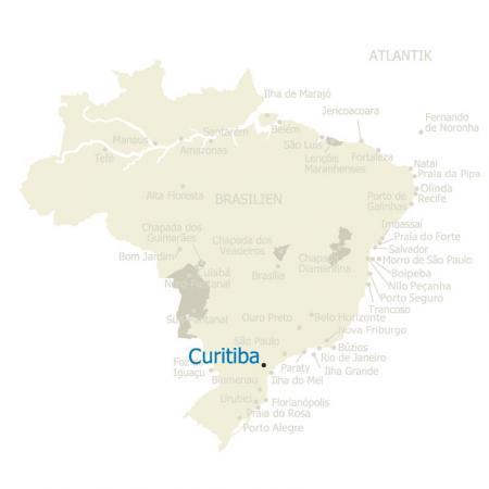 Karte mit Curitiba in Brasilien